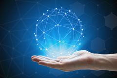 Man hand holding global network , hand holding a glowing connect Stock Image