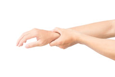 Man hand holding her wrist isolated on white background with cli. Pping path, health care and medical Royalty Free Stock Images