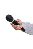 Man hand holding microphone Royalty Free Stock Photo