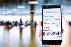 Mobile phone with mobile boarding pass Royalty Free Stock Image