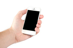Man hand holding a mobile phone Stock Image
