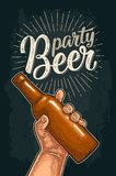 Man hand holding open beer bottle. Beer party calligraphic lettering. Stock Photo