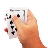 Man hand holding a poker cards isolated on white background Stock Photos