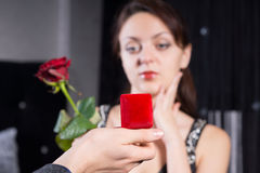 Man Hand Holding Red Jewelry Gift Box Stock Photography