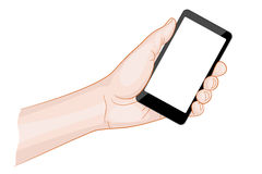 Man hand holding a smartphone with blank screen Stock Image