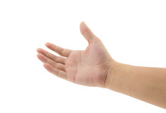 Man hand holding some isolated. On a white background Stock Photo