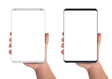 Man hand holding tablet Stock Photo