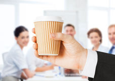Man hand holding take away coffee Royalty Free Stock Photography