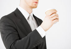 Man hand holding take away coffee Stock Photo