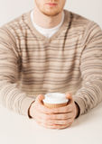 Man hand holding take away coffee cup Royalty Free Stock Photo