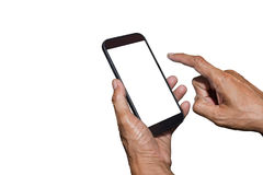 Man hand holding and using mobile,cell phone,smart phone with isolated screen. Man hand holding and using mobile,cell phone,smart phone with isolated screen on Royalty Free Stock Photography