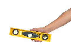 Man hand holding water Level equipment for surface adjustable ti Stock Image