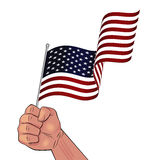 Man hand holding waving USA flag. In fist illustration isolated on white background Royalty Free Stock Photography