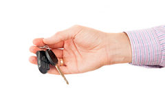The man hand holds cars key Stock Photos