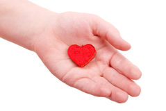 The man hand holds a heart symbol Stock Image