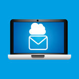 Man hand holds laptop mobile email cloud social media. Vector illustration Royalty Free Stock Photography