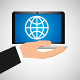 Man hand holds laptop mobile world social media Royalty Free Stock Images