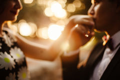 Man hand kissing woman. Tenderness. Sunset scenery. Out of focus Royalty Free Stock Image