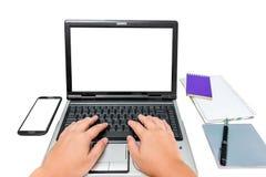 Man hand on laptop keyboard Royalty Free Stock Photo