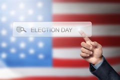 Man hand like to search a election day. In the virtual screen Royalty Free Stock Photography