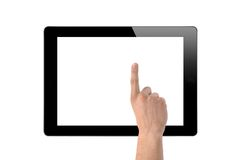 Man hand make a choice on tablet isolated Royalty Free Stock Photography
