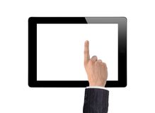 Man hand make a choice on tablet isolated Royalty Free Stock Images