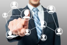 Man hand and modern network friends Stock Photography