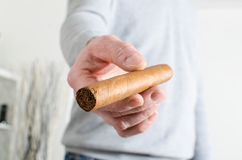 Man hand offering a cigar Royalty Free Stock Photos