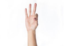 Man hand Ok sign on white background Stock Images