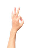 Man hand OK sign on white background.  Royalty Free Stock Images