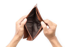 Man hand open an empty wallet. On white background Stock Photography