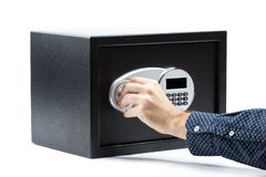 Man hand opened a safe deposit box Stock Photography