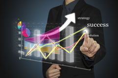 Man hand with pen drawing a graph chart and business strategy as concept on whiteboard Stock Image
