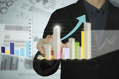 Man hand with pen drawing a graph chart and business strategy as concept on whiteboard Royalty Free Stock Image