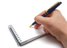 Man hand, pen and notebook with empty space.jpg Royalty Free Stock Image