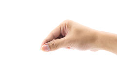 Man hand pick up isolated on white background Royalty Free Stock Photo