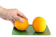Man hand picking one oranges on plate  with clipping pat Royalty Free Stock Photography