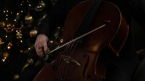 Man Hand Playing cello With Cello Bow. Close up of Male Hand Playing Cello With Cello Bow. Classical Orchestra Musician stock video