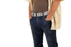 Man with hand in pocket Stock Images