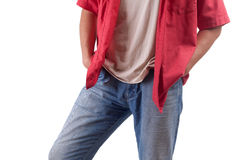 Man with hand in pocket Royalty Free Stock Photos