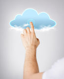 Man hand pointing at cloud Royalty Free Stock Images