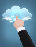 Man hand pointing at cloud Stock Photo