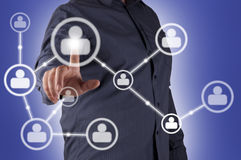 Man hand pressing Social Network icon Stock Photography
