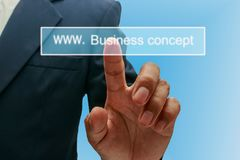 Man hand pressing touch screen Stock Photography