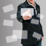 Man hand push. On technology virtual touch screen interface Royalty Free Stock Image