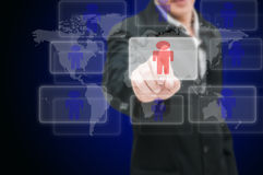 Man hand push on technology virtual touch. Screen interface (selective focus at finger Stock Image