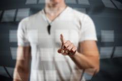 Man hand pushing digital button Royalty Free Stock Photo