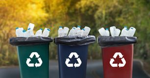 Man hand putting plastic reuse for recycling concept environmen. Tal protection world recycle stock photography
