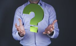 Man hand question mark royalty free stock photography