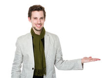 Man with hand show with something Royalty Free Stock Photo